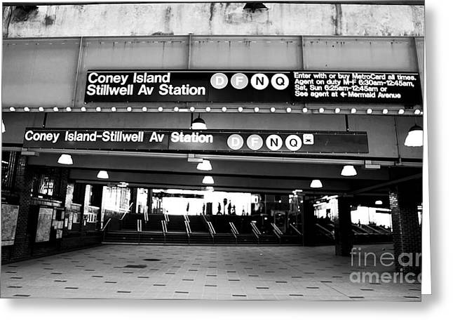 D.w. Greeting Cards - Stillwell Ave Station Greeting Card by John Rizzuto