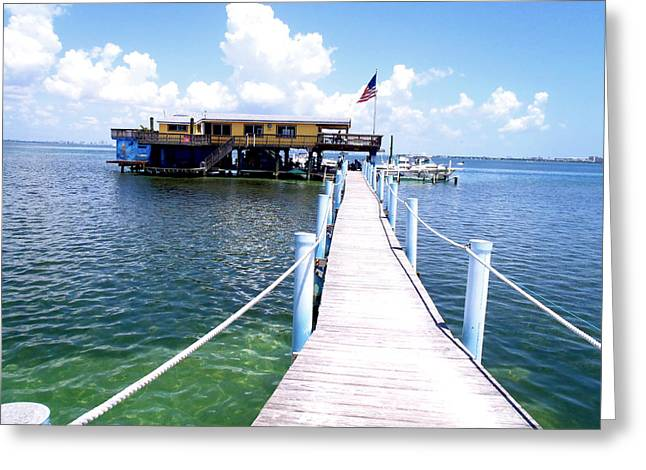 Captiva Greeting Cards - Stiltsville Dock Greeting Card by Carey Chen