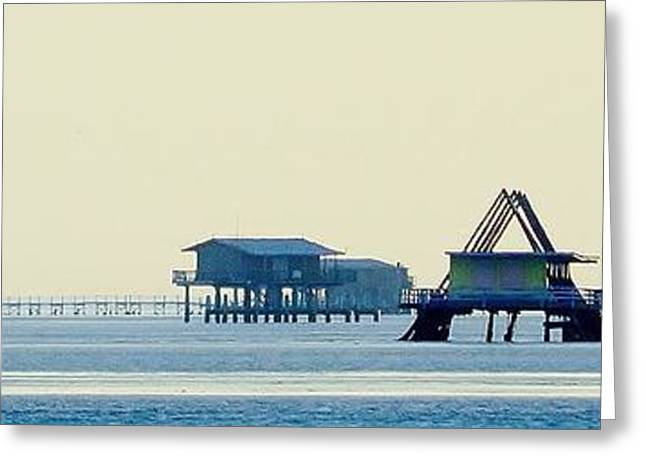 Historic Home Greeting Cards - Stiltsville on a Hazy Day Greeting Card by Carol McGunagle