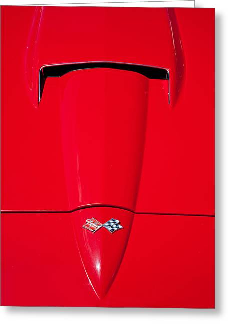 Custom Automobile Greeting Cards - Sting Ray Hood Greeting Card by Peter Tellone