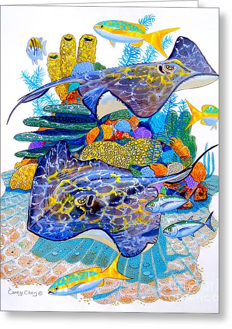 Reef Fish Greeting Cards - Stingray Play Greeting Card by Carey Chen