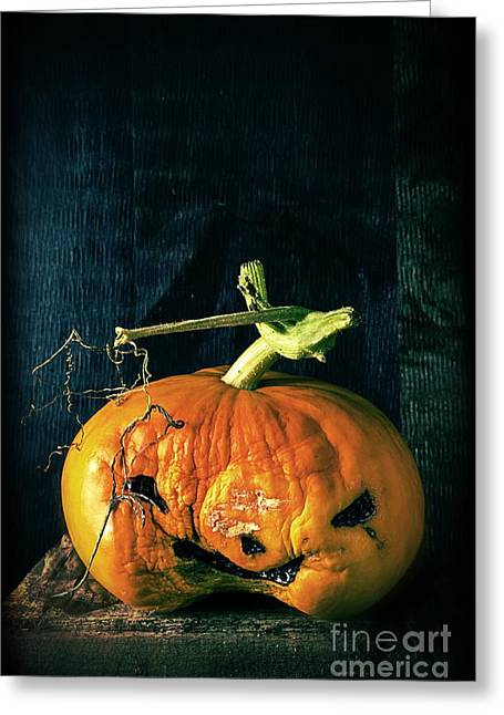 Gourd Greeting Cards - Stingy Jack - Scary Halloween Pumpkin Greeting Card by Edward Fielding
