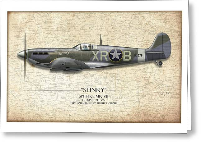Royal Art Greeting Cards - Stinky Duane Beeson Spitfire - Map Background Greeting Card by Craig Tinder