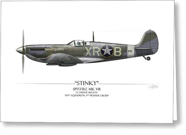 Mkix Greeting Cards - Stinky Duane Beeson Spitfire - White Background Greeting Card by Craig Tinder