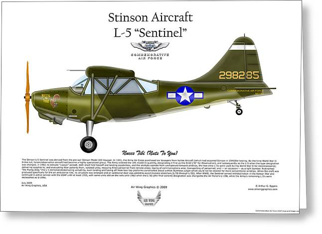 Deployment Prints Greeting Cards - Stinson Aircraft L-5 Sentinel Greeting Card by Arthur Eggers