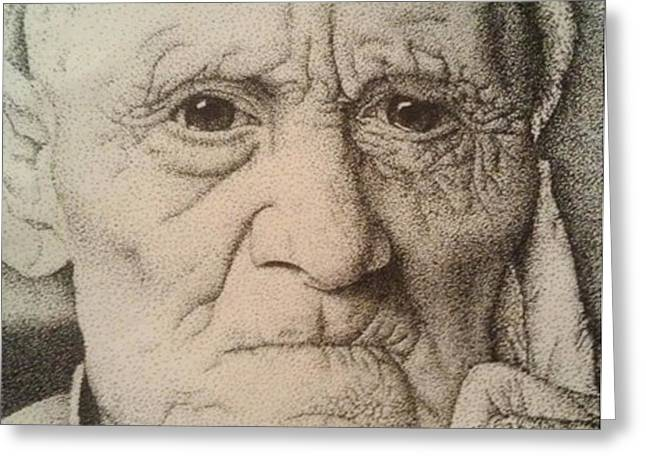 Family Time Drawings Greeting Cards - Stippling of an Old Man Greeting Card by Lisa Marie Szkolnik