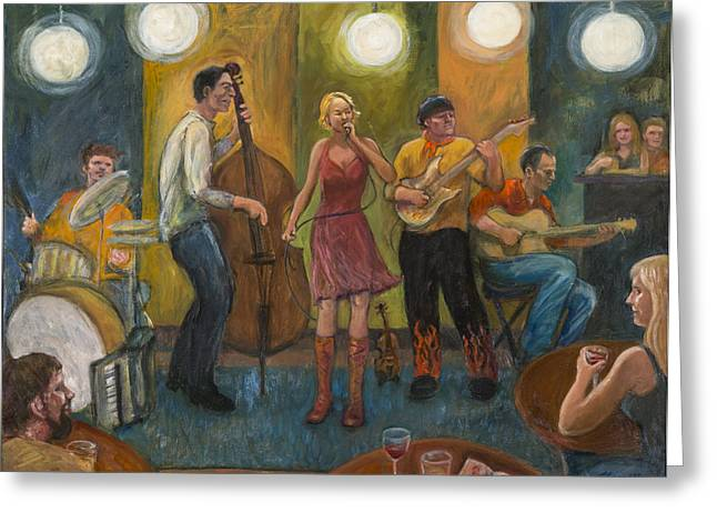 Gypsy Band Greeting Cards - Stirfry at the Cafe Greeting Card by Laura Lee Cundiff