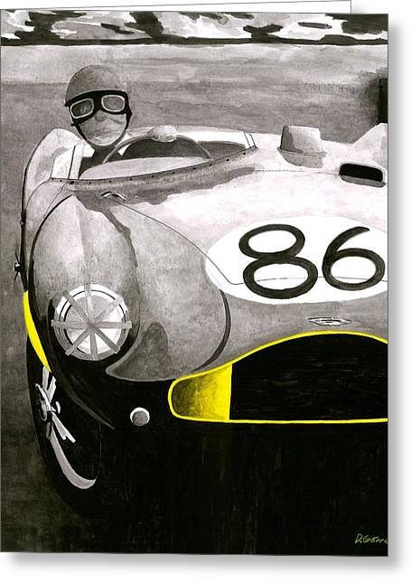 Green And Yellow Greeting Cards -  Aston Martin DB3s Stirling Moss Greeting Card by Domingo Gorriz
