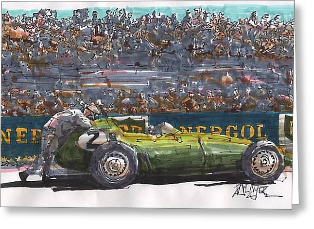 Stirling Moss Greeting Cards - Stirling Moss BRM French Grand Prix Greeting Card by Paul Guyer
