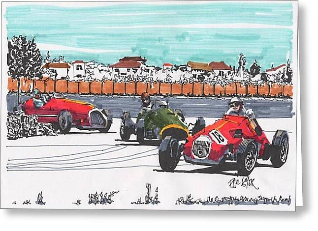 Stirling Moss Greeting Cards - Stirling Moss Ferrari Grand Prix of Italy Greeting Card by Paul Guyer