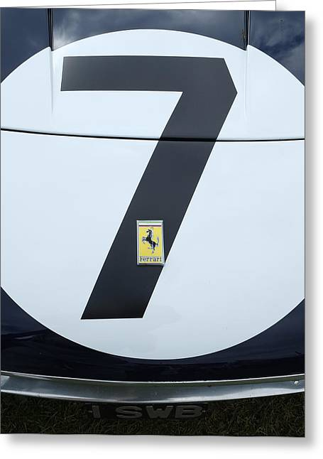 Stirling Moss Greeting Cards - Stirling Moss Ferrari number 7 Greeting Card by Adrian Beese