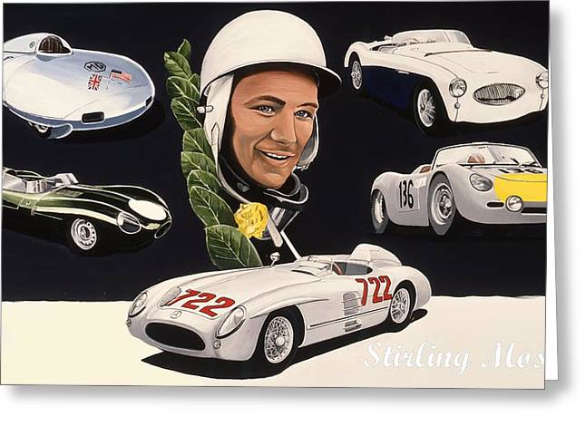 Stirling Moss Greeting Cards - Stirling Moss Greeting Card by Kevin Waite