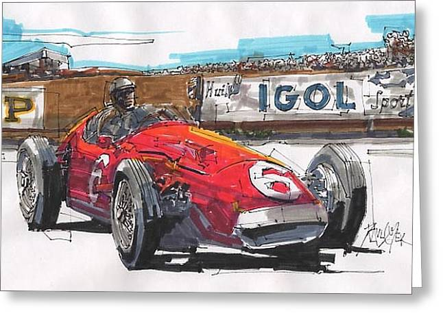 Stirling Moss Greeting Cards - Stirling Moss Maserati French Grand Prix Greeting Card by Paul Guyer