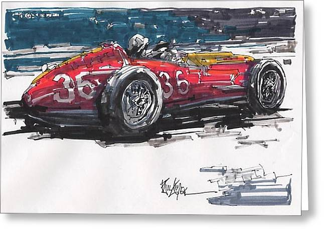 Stirling Moss Greeting Cards - Stirling Moss Maserati Grand Prix of Italy Greeting Card by Paul Guyer