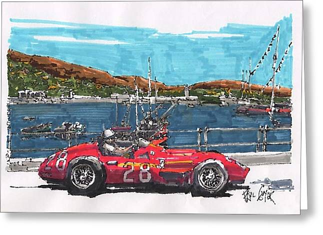 Moss Drawings Greeting Cards - Stirling Moss Maserati Grand Prix of Monaco Greeting Card by Paul Guyer