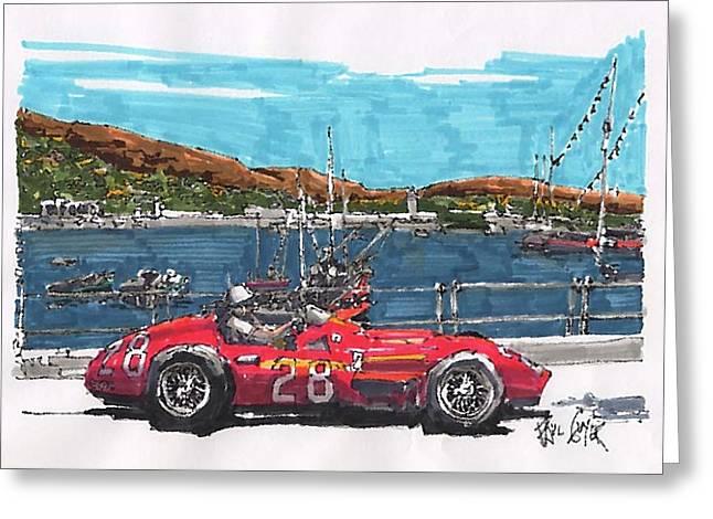 Stirling Moss Maserati Grand Prix Of Monaco Greeting Card by Paul Guyer
