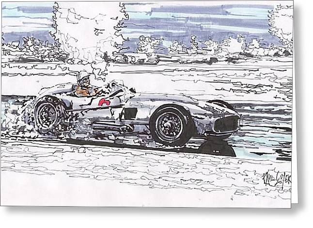 Stirling Moss Mercedes Benz Grand Prix Of Argentina Greeting Card by Paul Guyer