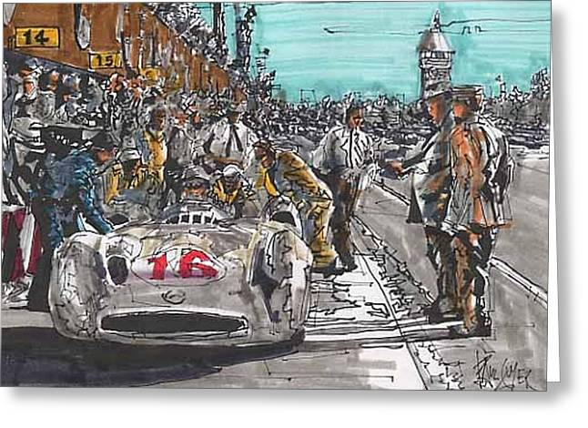 Stirling Moss Greeting Cards - Stirling Moss Mercedes Benz Italian Grand Prix Greeting Card by Paul Guyer