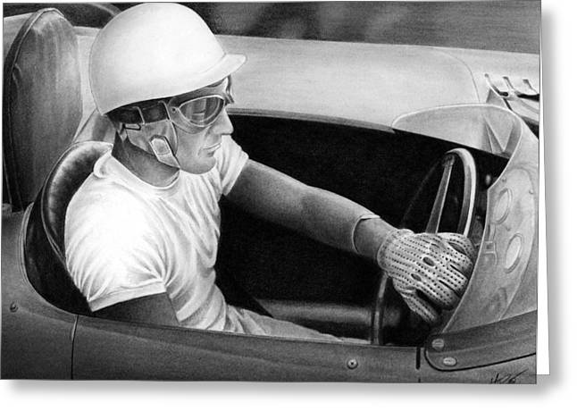 Stirling Moss Greeting Cards - Stirling Performance Greeting Card by Lyle Brown