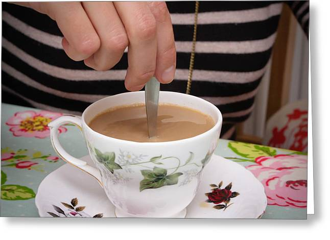 White Cloth Greeting Cards - Stirring tea  Greeting Card by Tom Gowanlock