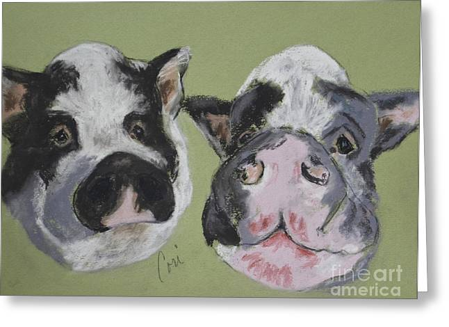 Pigs Pastels Greeting Cards - Stirring The Pot Greeting Card by Cori Solomon
