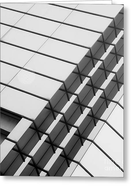 Glass Building Greeting Cards - Stitched 1 Greeting Card by Rebecca Cozart