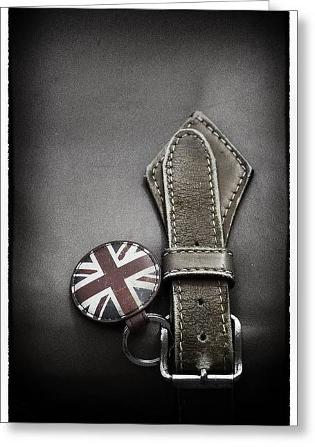Straps Greeting Cards - .stitched Up Greeting Card by Russell Styles