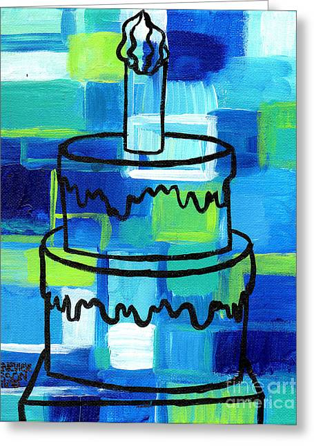 Esson Greeting Cards - STL250 Birthday Cake Blue and Green Abstract Greeting Card by Genevieve Esson