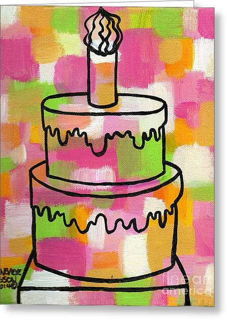 Birthday Cake Greeting Cards - STL250 Birthday Cake Pink and Green Abstract Greeting Card by Genevieve Esson