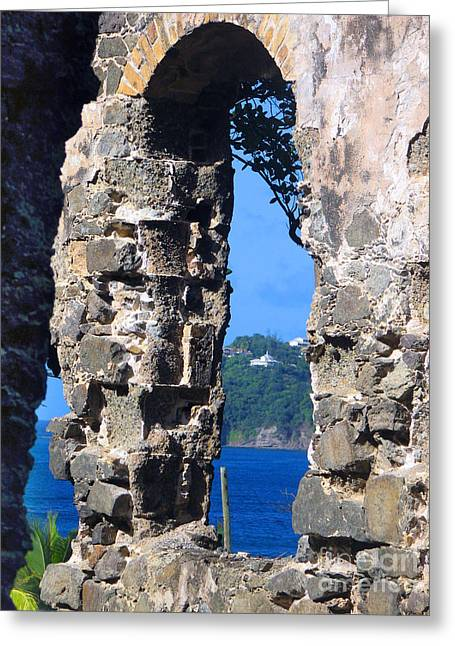 Stlucia - Ruins Greeting Card by Gregory Dyer