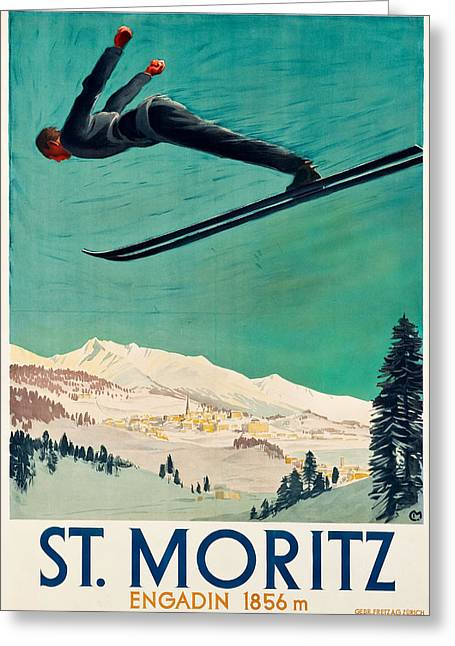 Skiing Art Posters Greeting Cards - St.Moritz ski poster Greeting Card by Allen Beilschmidt