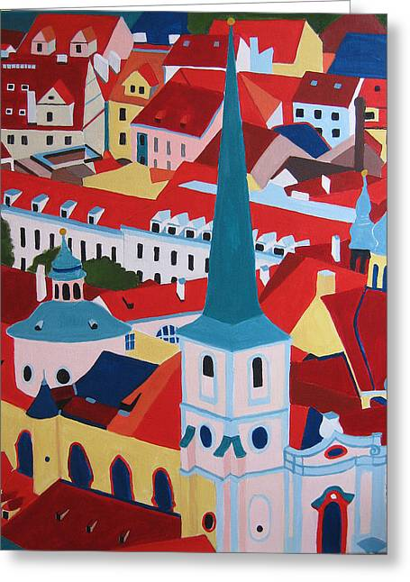 Prague Paintings Greeting Cards - St.Nicolas church Greeting Card by Toni Silber-Delerive