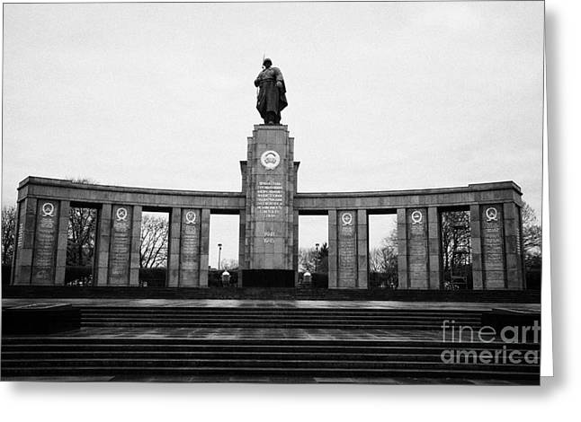 Berlin Germany Greeting Cards - stoa of the with statue of soldier soviet war memorial tiergarten Berlin Germany Greeting Card by Joe Fox