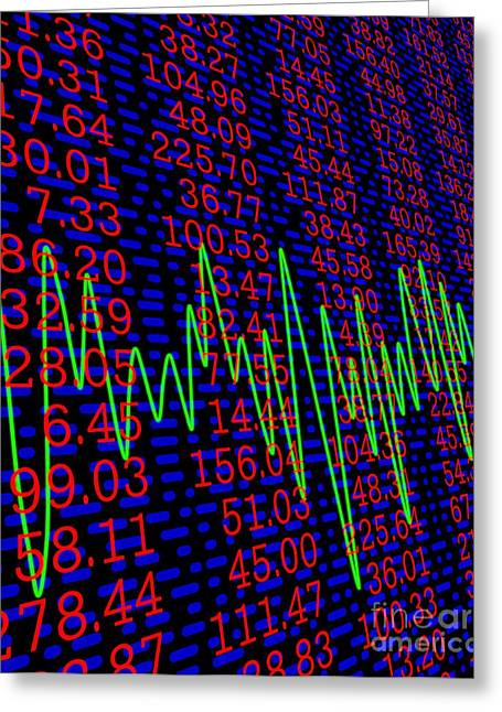Numerical Greeting Cards - Stock Market Indices, Figures And Prices Greeting Card by David Parker