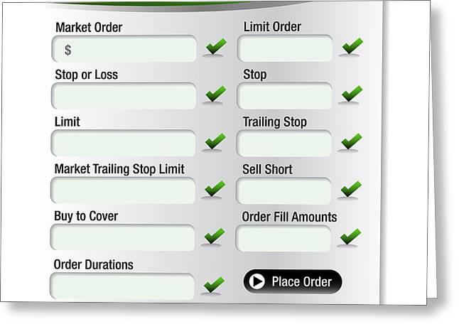 Menu Illustrations Greeting Cards - Stock Market Order Types Menu Greeting Card by John Takai
