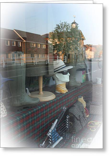 Wellingtons Greeting Cards - Stockbridge Country Pursuits Shop Window Greeting Card by Terri  Waters