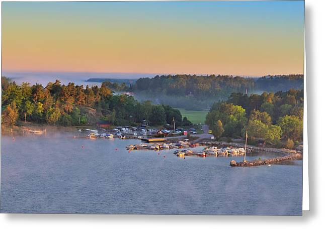 Stockholm Archipelago Harbor At Dawn Panorama Sweden Greeting Card by Marianne Campolongo