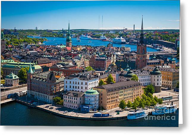Scandinavian Greeting Cards - Stockholm from Above Greeting Card by Inge Johnsson