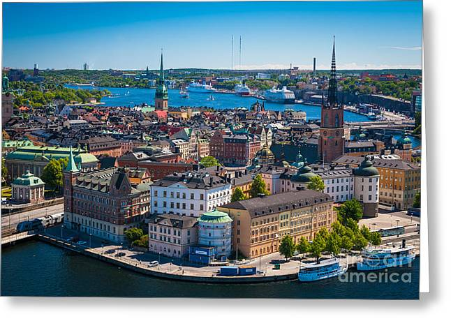 Sweden Greeting Cards - Stockholm from Above Greeting Card by Inge Johnsson