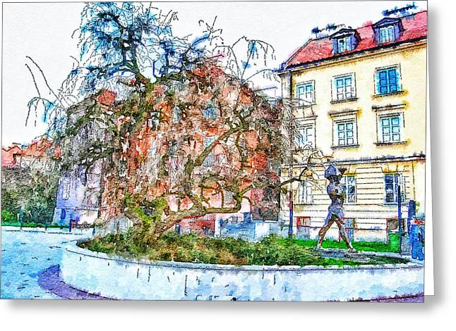 Urban Nature Study Greeting Cards - Stockholm Galma Stan Old Town Greeting Card by Yury Malkov