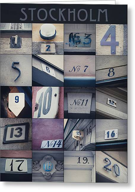 Four Fifteen Greeting Cards - Stockholm in Numbers Greeting Card by Jane M