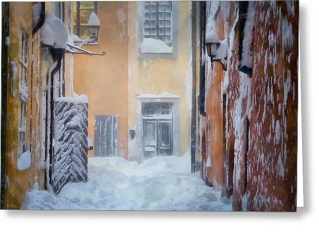 Old Town Digital Greeting Cards - Stockholm in winter Greeting Card by Gun Legler