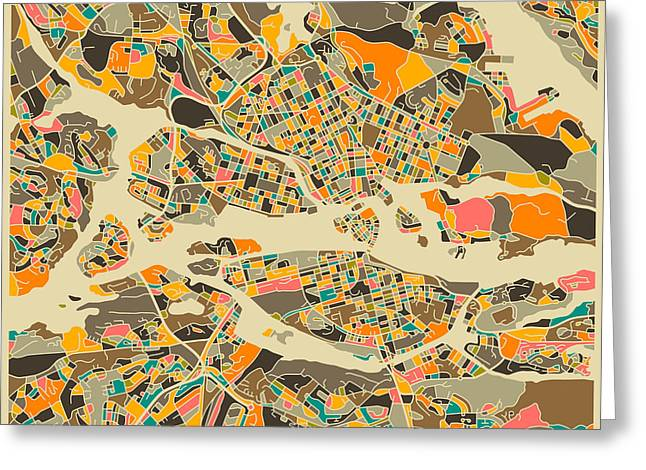 Modern Artist Greeting Cards - Stockholm Map Greeting Card by Jazzberry Blue