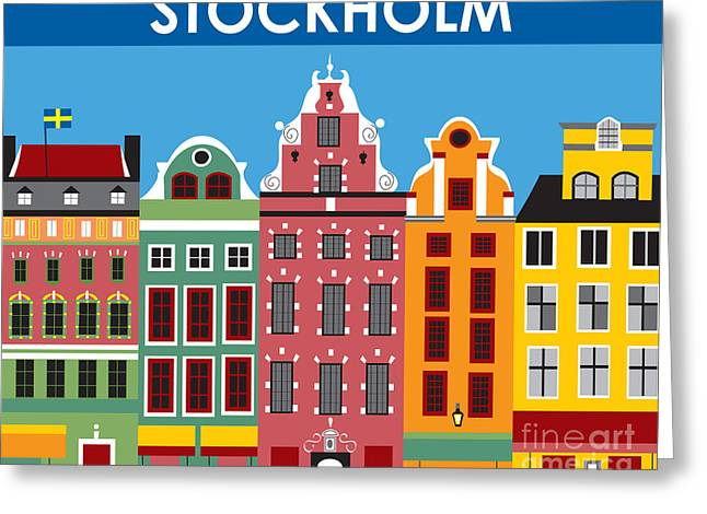 Sweden Digital Art Greeting Cards - Stockholm Greeting Card by Karen Young