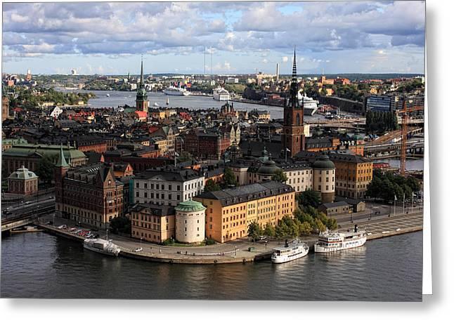 Alex Sukonkin Greeting Cards - Stockholm panorama from Stadshuset Greeting Card by Alex Sukonkin