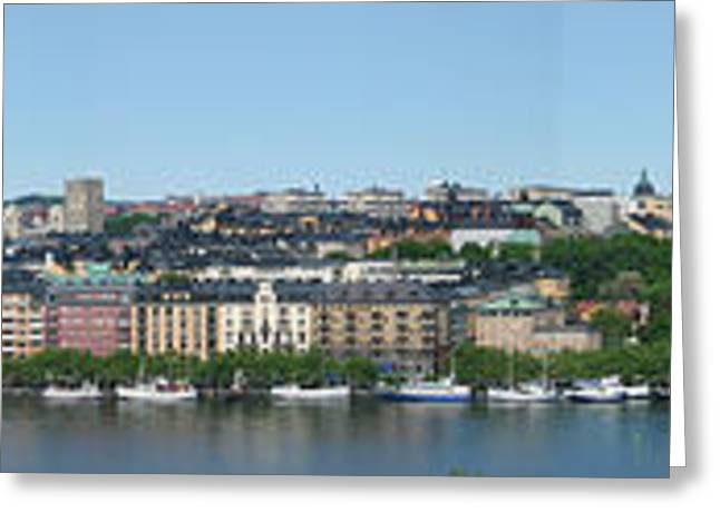 Scandanavian Greeting Cards - Stockholm Panoramic View Greeting Card by Pg Reproductions