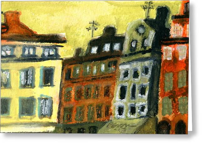 Town Pastels Greeting Cards - Stockholm Sketch 1 Greeting Card by Erik Pearson