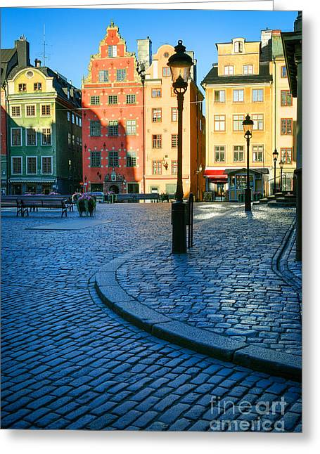 Scandinavian Greeting Cards - Stockholm Stortorget Square Greeting Card by Inge Johnsson