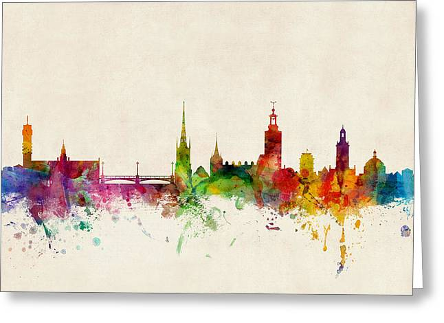 Sweden Greeting Cards - Stockholm Sweden Skyline Sverige Greeting Card by Michael Tompsett