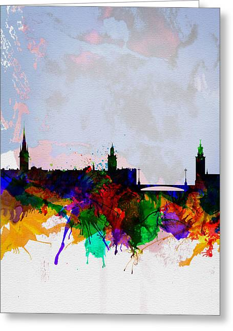 Sweden Greeting Cards - Stockholm Watercolor Skyline Greeting Card by Naxart Studio